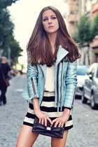 sky blue leather jacket Boda Skins jacket - black striped Black Five shorts