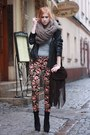 Brown-floral-print-topshop-pants