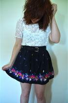 white American Apparel shirt - blue Forever 21 skirt - black moms closet belt