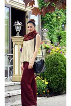 maroon palazzo Forever 21 pants - burnt orange pashmina scarf