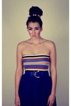 striped Charlotte Russe skirt - blue Sirens skirt - blue chunky thrifted belt