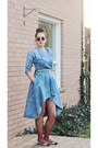 Black-messenger-urban-outfitters-bag-sky-blue-dress