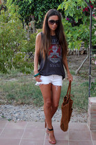 brown Zara bag - white Zara shorts - brown Zara heels - gray pull&bear t-shirt
