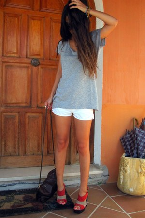 carrot orange Primark heels - dark brown H&M bag - white Zara shorts