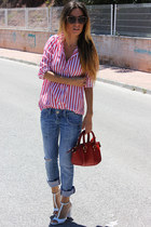 blue Zara jeans - red Zara bag - white Zara heels - red Zara blouse