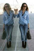 black Zara boots - blue Stradivarius jeans - blue Zara blouse