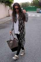 black Calzedonia leggings - black Primark scarf - silver Zara bag