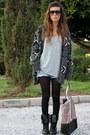 Black-primark-boots-silver-bershka-bag-blue-pullandbear-shorts