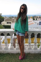 purple asos heels - blue pull&bear shorts - hot pink H&M sunglasses