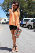 orange h&m divided shirt - black pullandbear skirt - beige Zara heels