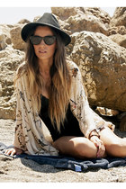 black Bershka hat - cream Zara cape - black Zara swimwear