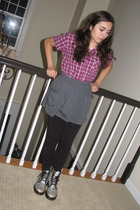 thrift shirt - Some dumb mall store skirt - random leggings - Doc Martens via Eb