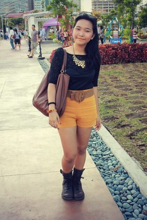 mustard Forever 21 shorts - dark brown doc martens boots - black Topshop top