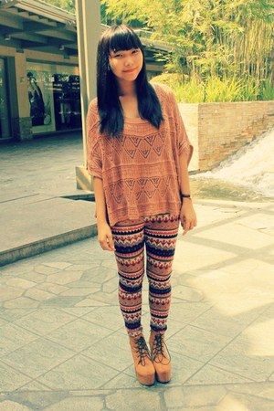 tawny aztec print Forever 21 leggings - carrot orange Forever 21 top