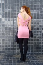 pink Fox House dress - black OASAP bag - black Fake Tattoos accessories