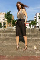 brown Zara top - brown Zara skirt - brown Sfera shoes - gold BLANCO earrings - b