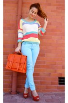 light yellow Love sweater - carrot orange Chicwish bag - sky blue AX Paris pants
