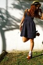 blue BLANCO dress - burnt orange Jessica Simpson heels