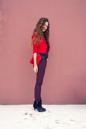 black Mango boots - crimson Massimo Dutti jeans - ruby red Taobao blazer