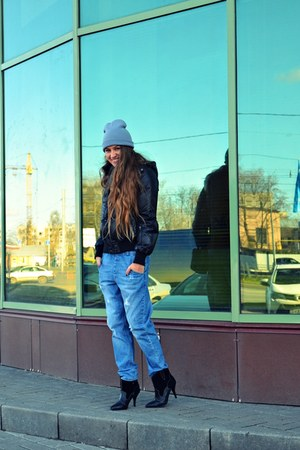 black Mango boots - sky blue asos jeans