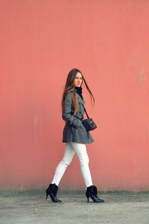 white H&M jeans - black Mango boots - gray French Connection coat