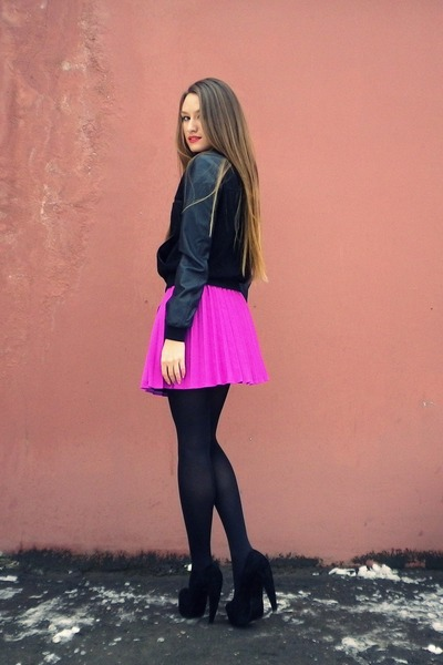 magenta H&M skirt - black lindex jacket