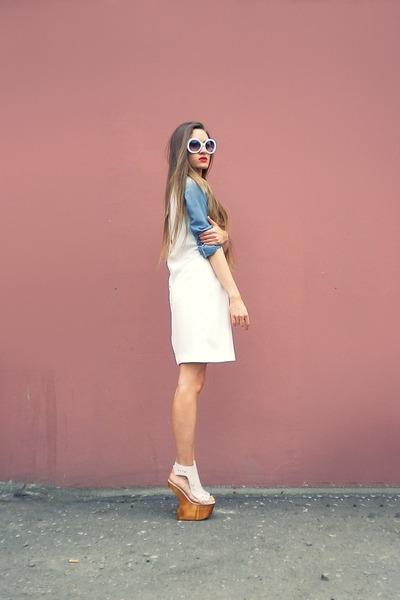 cream Zara dress - neutral Jeffrey Campbell sandals