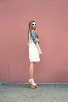 cream Zara dress - neutral Jeffrey Campbell sandals