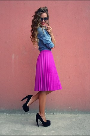 magenta H&amp;M skirt - light blue Mango shirt - black no brand pumps