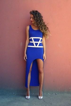 white asos belt - white unknown brand shoes - blue Romwecom dress