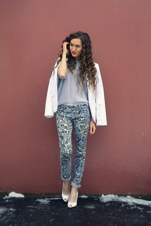 white Centro shoes - periwinkle pull&amp;bear jeans - periwinkle sela sweater