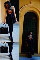 black ankle Style TIba boots - vintage dress Blossom dress