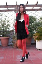 ruby red blazer - white black and white dress - ruby red stockings
