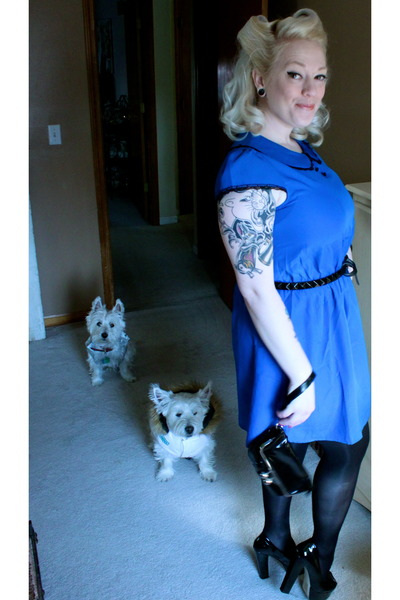 blue Lux dress - Shoe Dazzle shoes - black HUE tights - black Michael Kors belt
