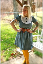 periwinkle Red Velvet dress - gold hue tights tights - tan Steve Madden wedges