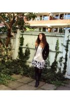 black new look boots - white unknown brand skirt - black Zara blazer - white unk