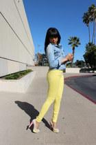 light blue denim Love Culture top - light yellow pastels Zara pants