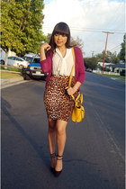magenta vince cardigan - brown Forever 21 skirt