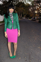green leather Gucci jacket - hot pink Arden B skirt