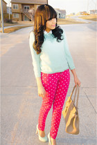 hot pink polka dot JustFab jeans - light blue mint Forever 21 sweater