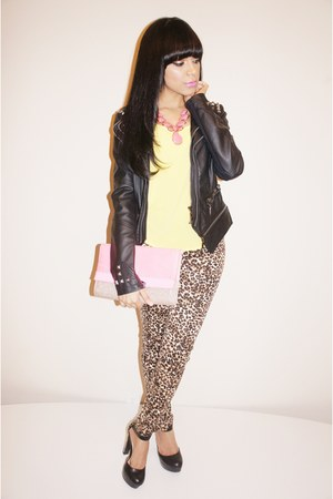 leopard Love Culture jeans - Love Culture jacket - neon asos purse