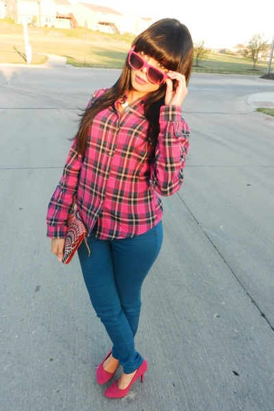 magenta plaid Love Culture blouse - teal Wetseal jeans