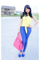 blue polka dot JustFab jeans - yellow Forever 21 shirt