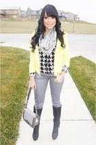 yellow neon Charlotte Russe jacket - silver metallic JustFab jeans