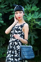 cat print dress chicnova dress - retro rivets tbdress bag - beste shop necklace