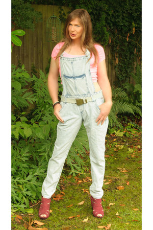 bubble gum cotton crop new look top - light blue River Island jeans