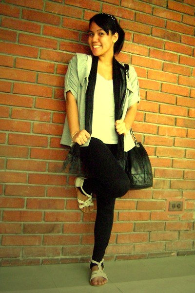 Broadway Gems accessories - blazer - scarf - F&amp;H top - Zara leggings - Greenhill