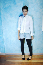 white random find blouse - blue Topshop shorts - black Betty leggings - black ra