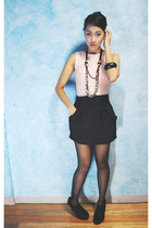 pink random top - black random skirt - black random stockings - black random sho
