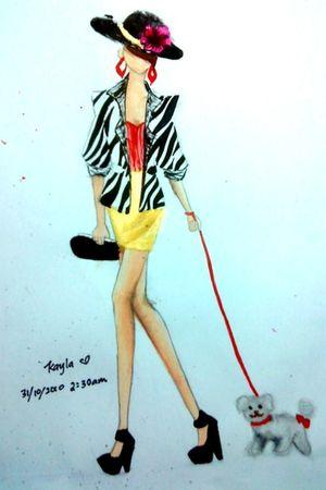 white blazer - red top - gold skirt - black hat - black shoes - red earrings